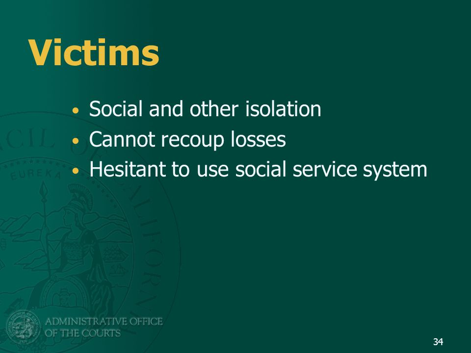 Victims Social and other isolation Cannot recoup losses