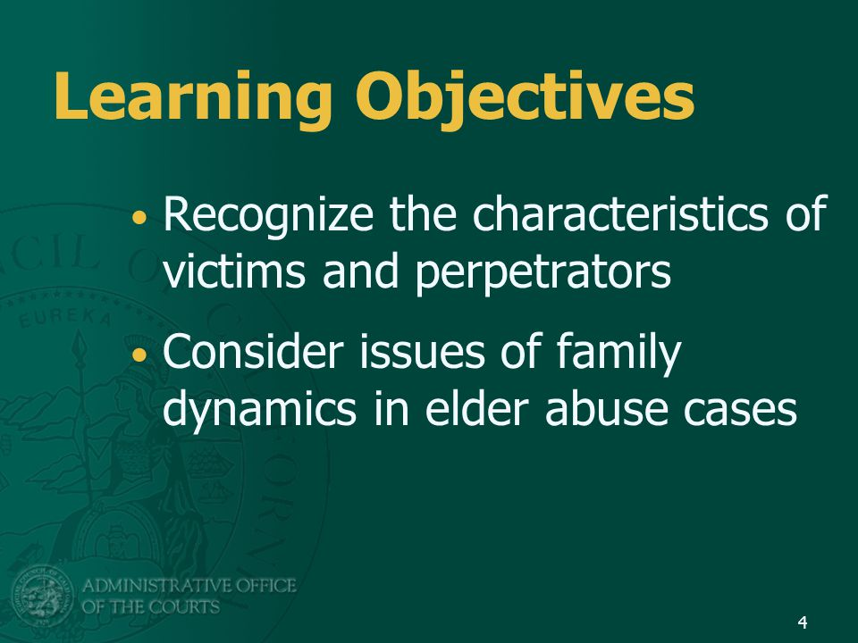 Learning Objectives Recognize the characteristics of victims and perpetrators.