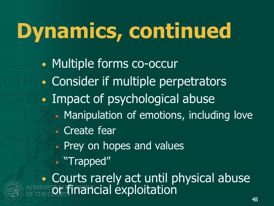 Dynamics, continued Multiple forms co-occur