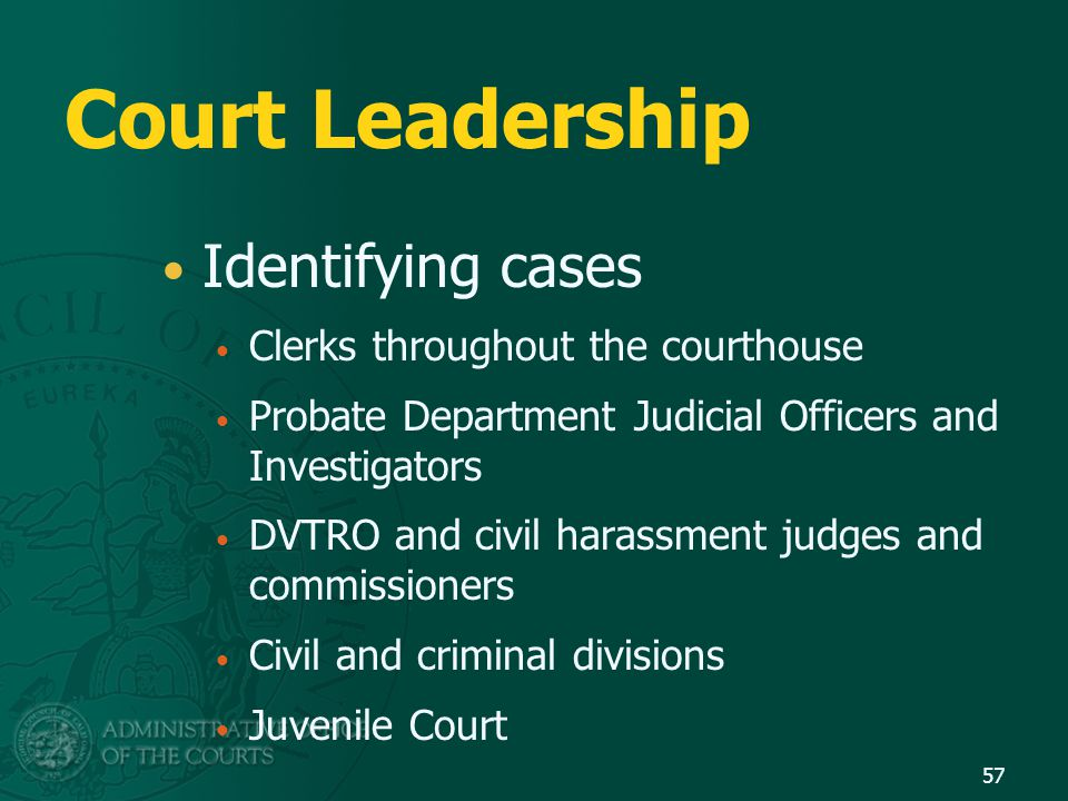Court Leadership Identifying cases Clerks throughout the courthouse