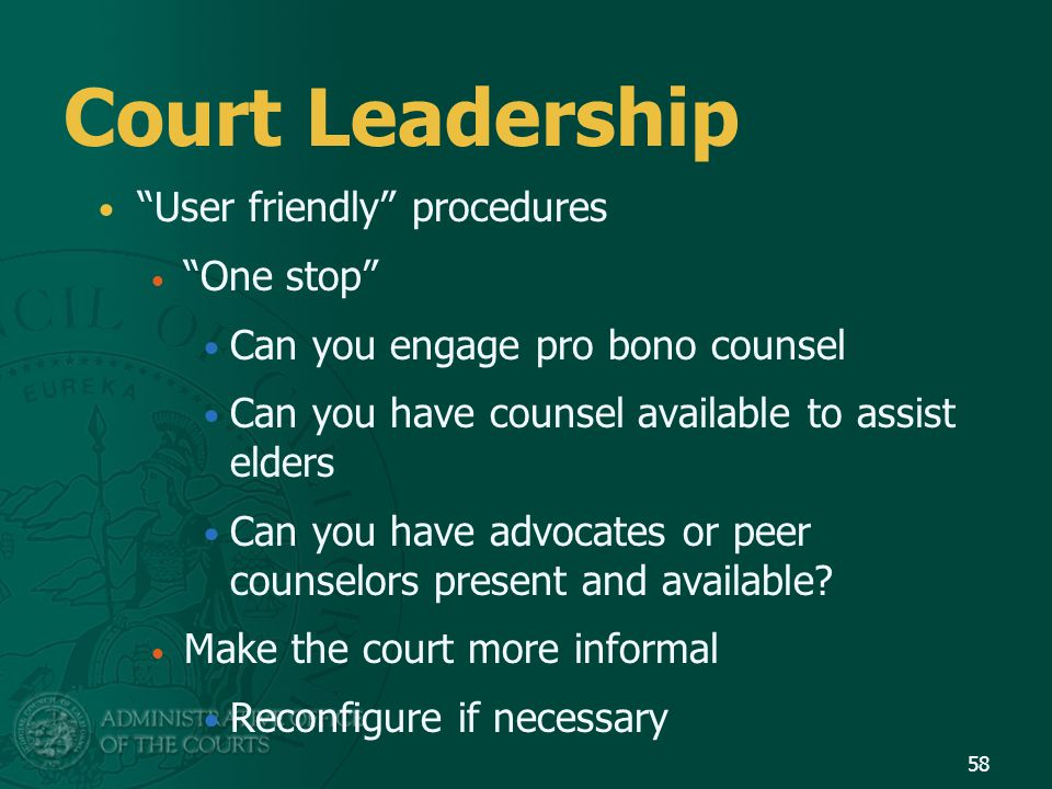 Court Leadership User friendly procedures One stop