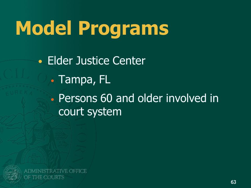 Model Programs Elder Justice Center Tampa, FL