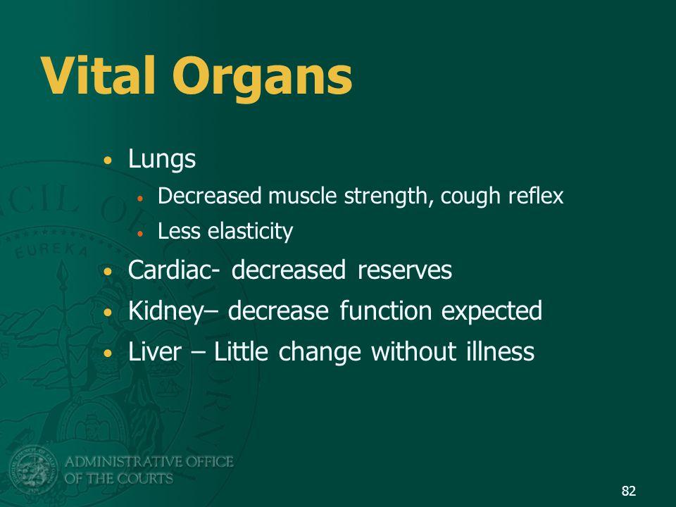 Vital Organs Lungs Cardiac- decreased reserves