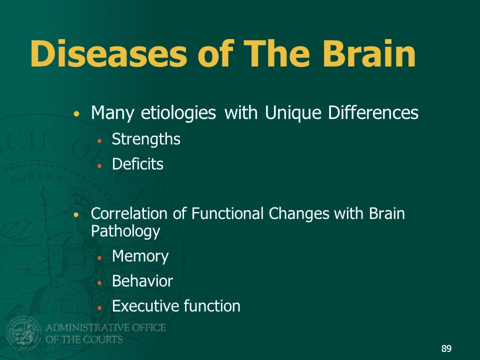 Diseases of The Brain Many etiologies with Unique Differences