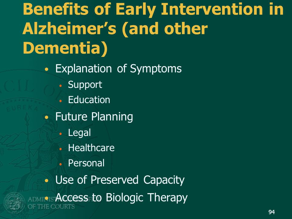 Benefits of Early Intervention in Alzheimer's (and other Dementia)