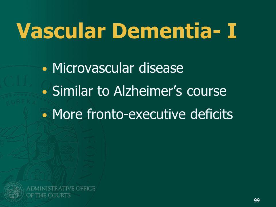 Vascular Dementia- I Microvascular disease