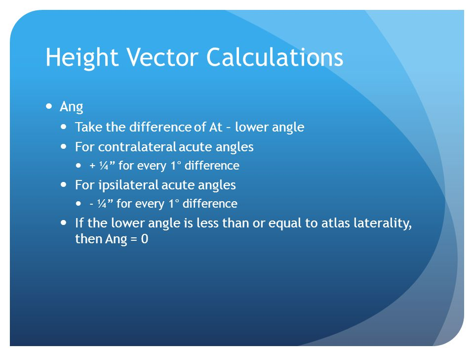 Height Vector Calculations