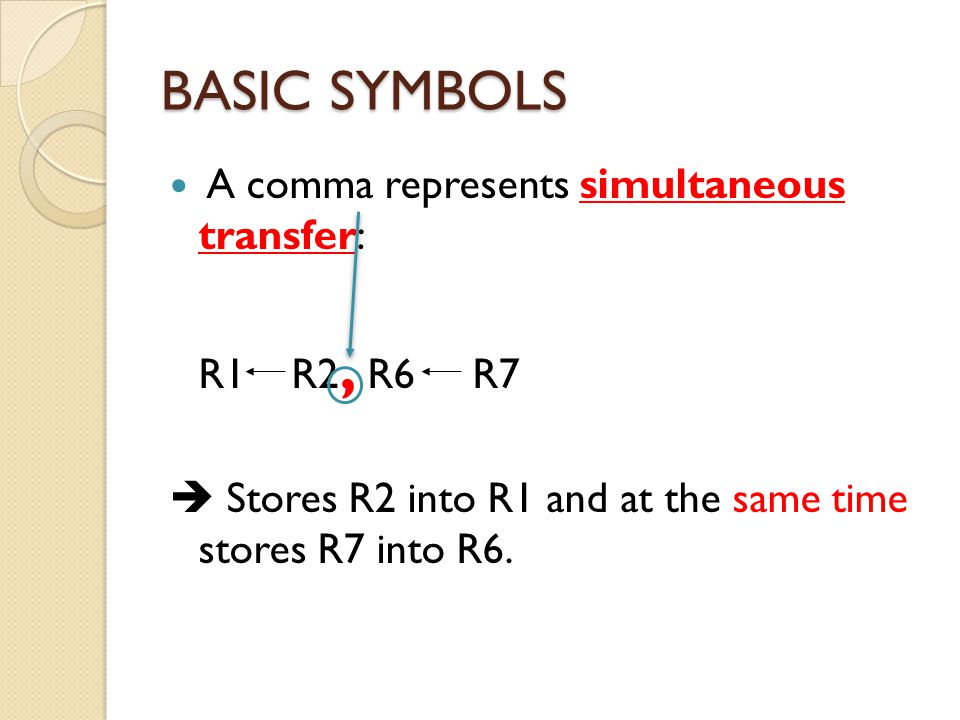 BASIC SYMBOLS A comma represents simultaneous transfer: R1 R2, R6 R7
