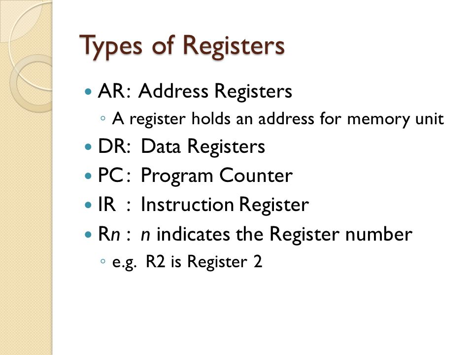 Types of Registers AR : Address Registers DR: Data Registers
