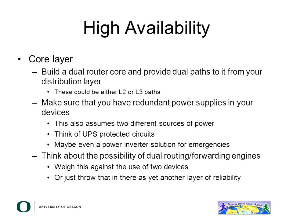 High Availability Core layer
