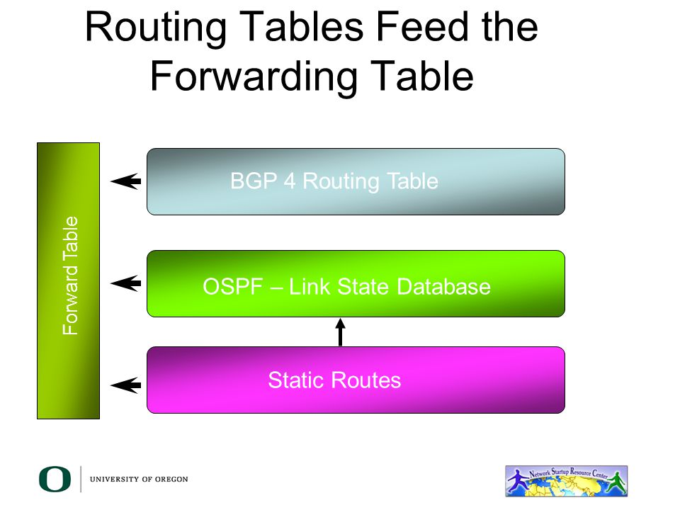 Routing Tables Feed the Forwarding Table