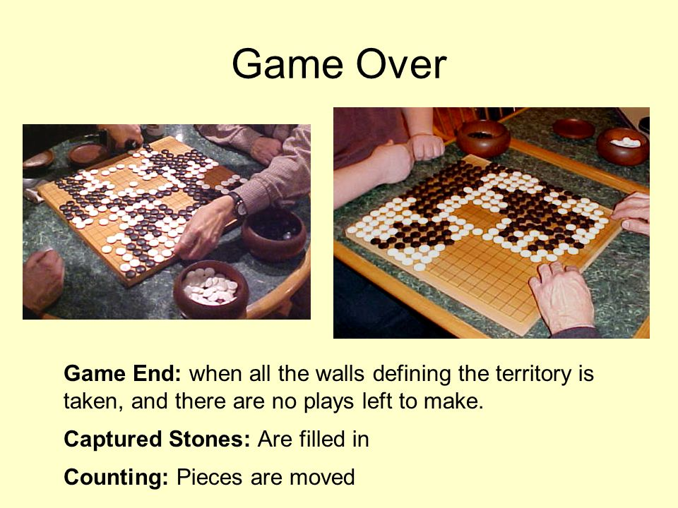 Game Over Game End: when all the walls defining the territory is taken, and there are no plays left to make.