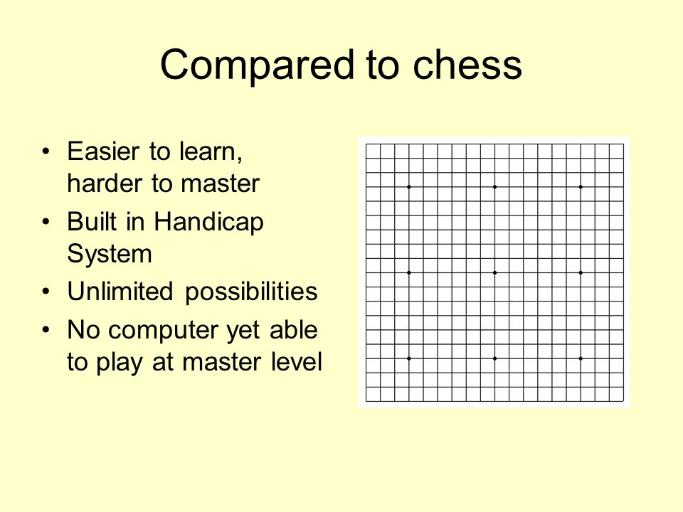 Compared to chess Easier to learn, harder to master