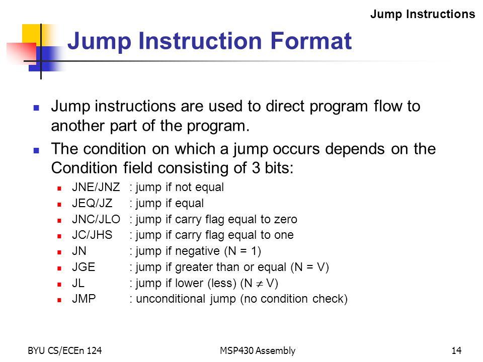 Jump Instruction Format