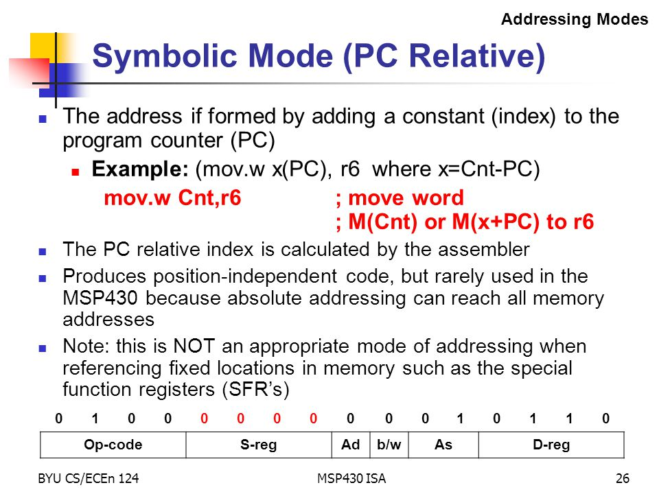 Symbolic Mode (PC Relative)