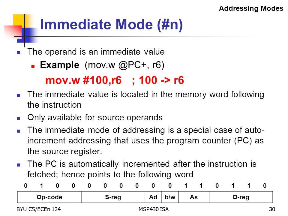 Immediate Mode (#n) mov.w #100,r6 ; 100 -> r6
