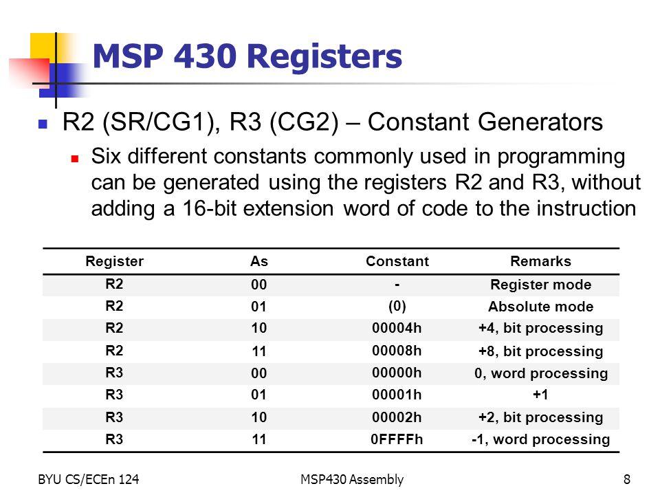 MSP 430 Registers R2 (SR/CG1), R3 (CG2) – Constant Generators