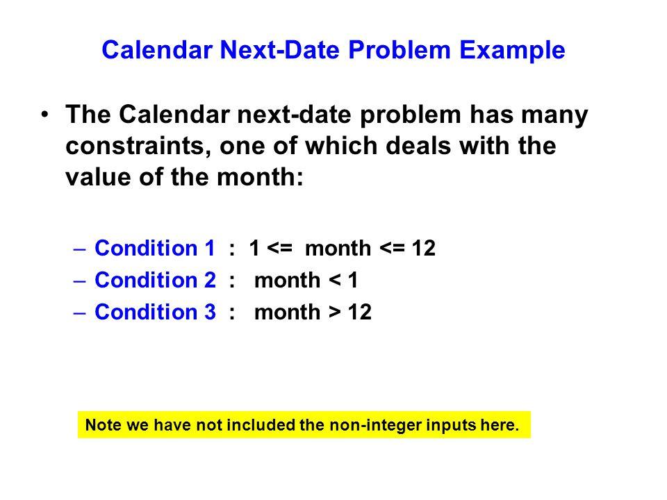 Calendar Next-Date Problem Example
