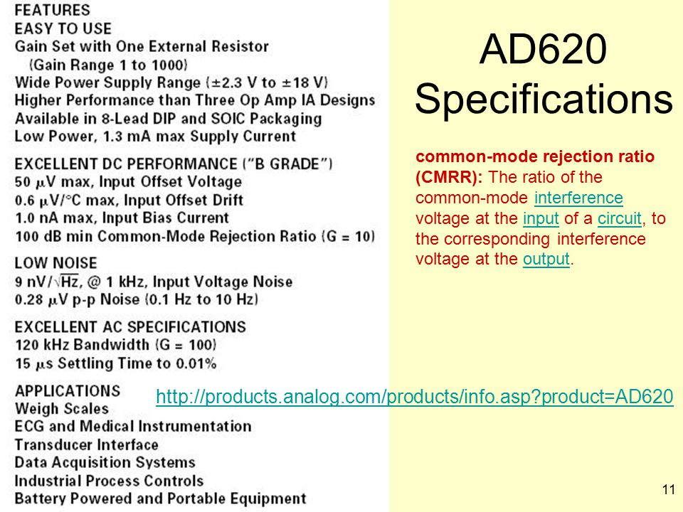 AD620 Specifications