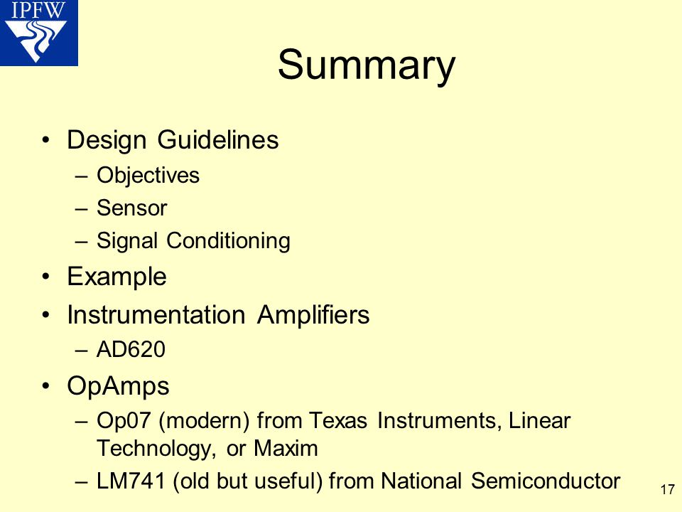 Summary Design Guidelines Example Instrumentation Amplifiers OpAmps