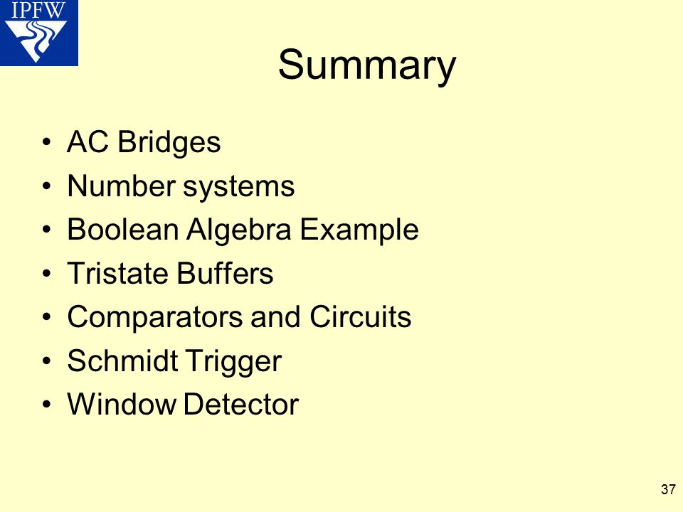 Summary AC Bridges Number systems Boolean Algebra Example