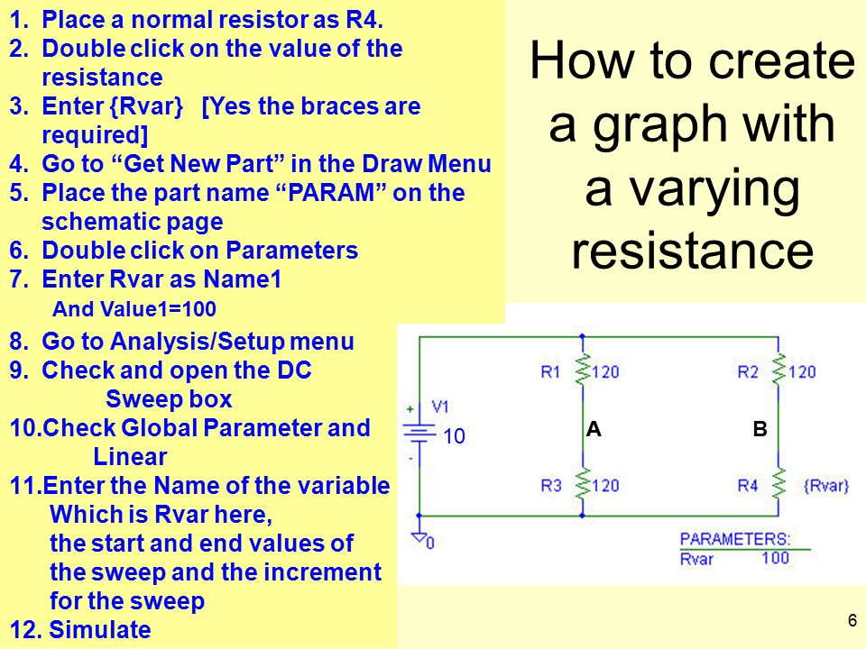 How to create a graph with a varying resistance