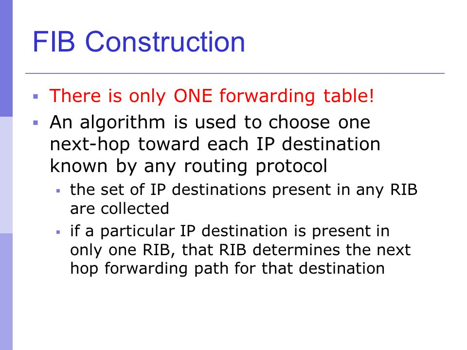 FIB Construction There is only ONE forwarding table!