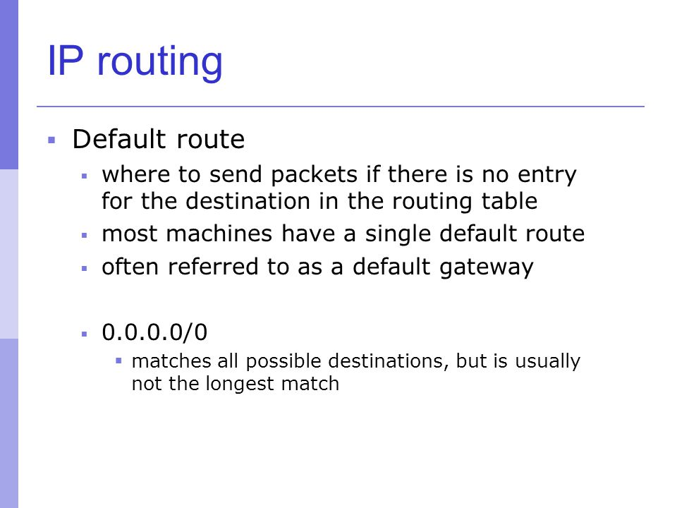 IP routing Default route