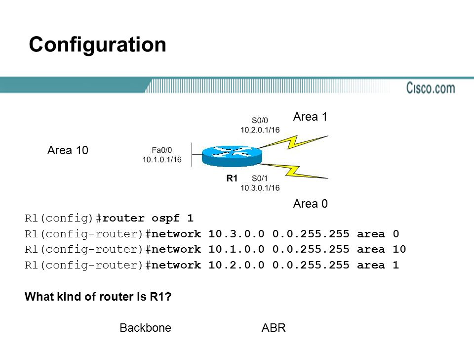 Configuration Area 1 Area 10 Area 0 R1(config)#router ospf 1