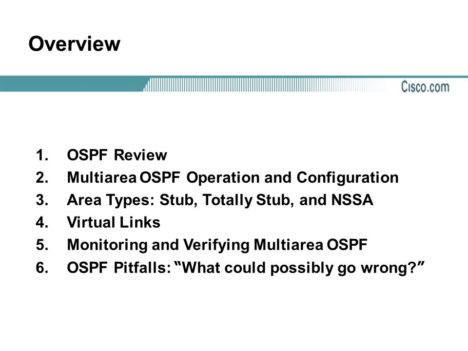 Overview OSPF Review Multiarea OSPF Operation and Configuration