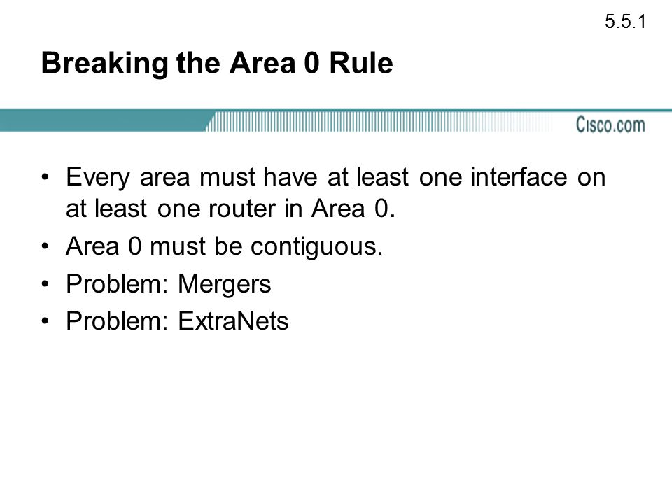 5.5.1 Breaking the Area 0 Rule. Every area must have at least one interface on at least one router in Area 0.