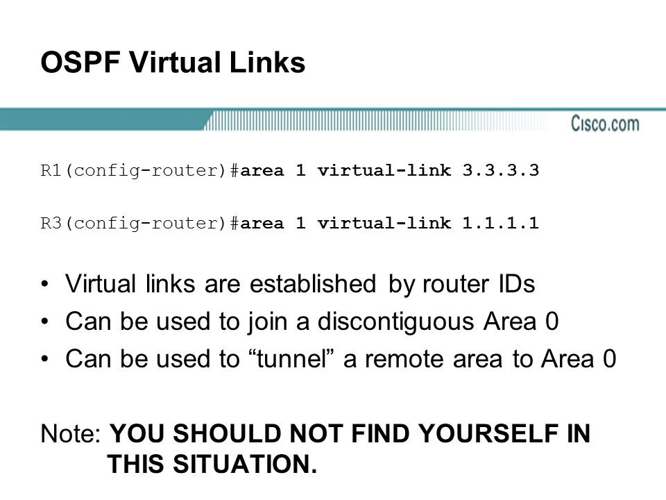 OSPF Virtual Links Virtual links are established by router IDs