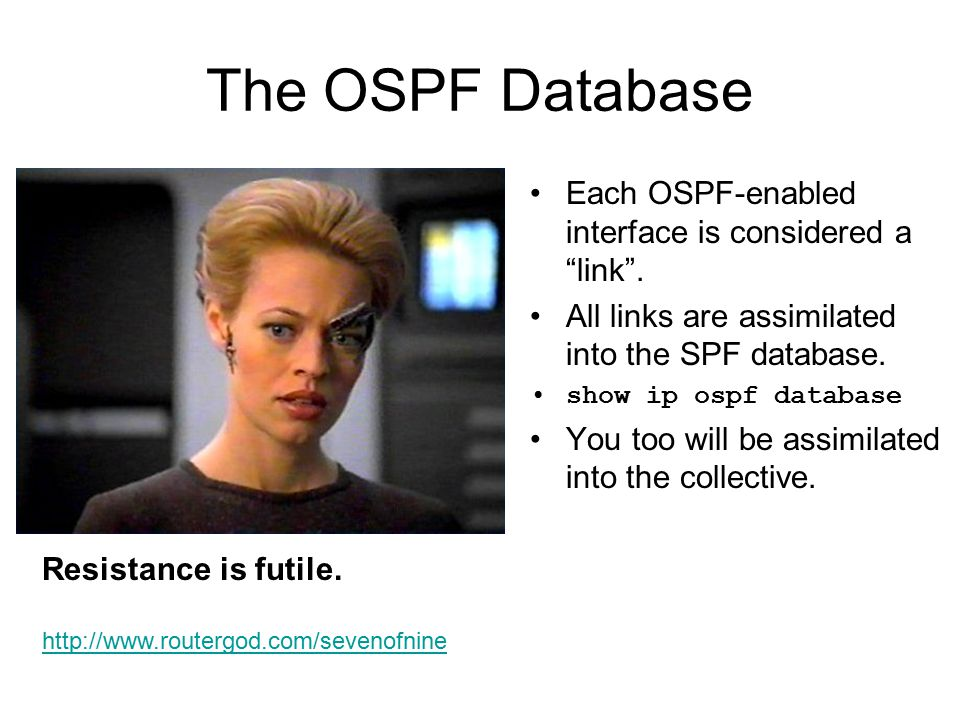 The OSPF Database Each OSPF-enabled interface is considered a link .