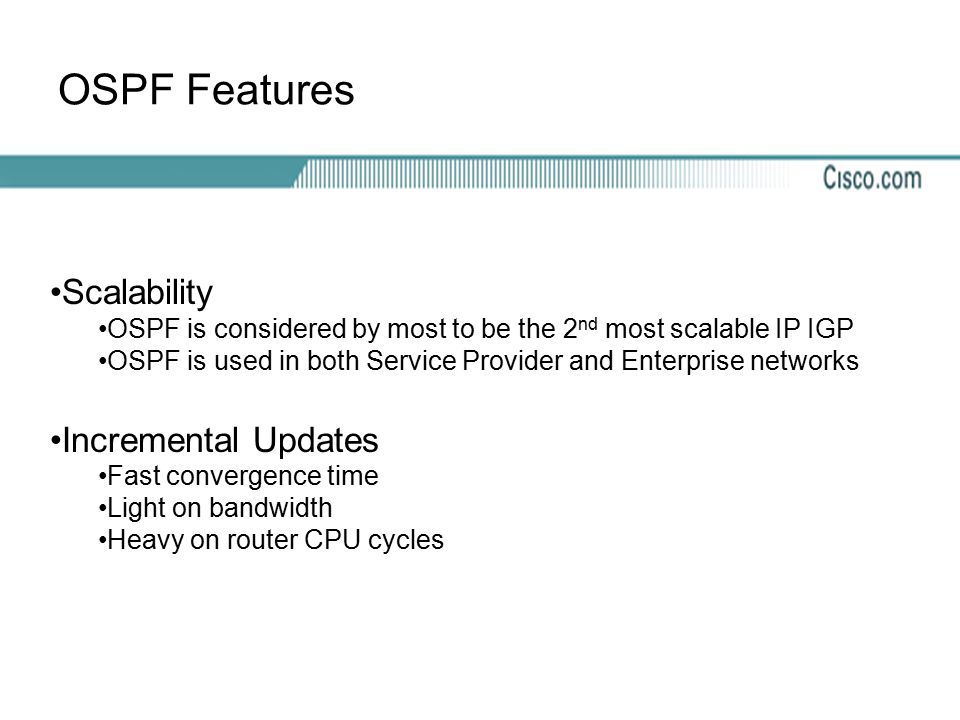 OSPF Features Scalability Incremental Updates