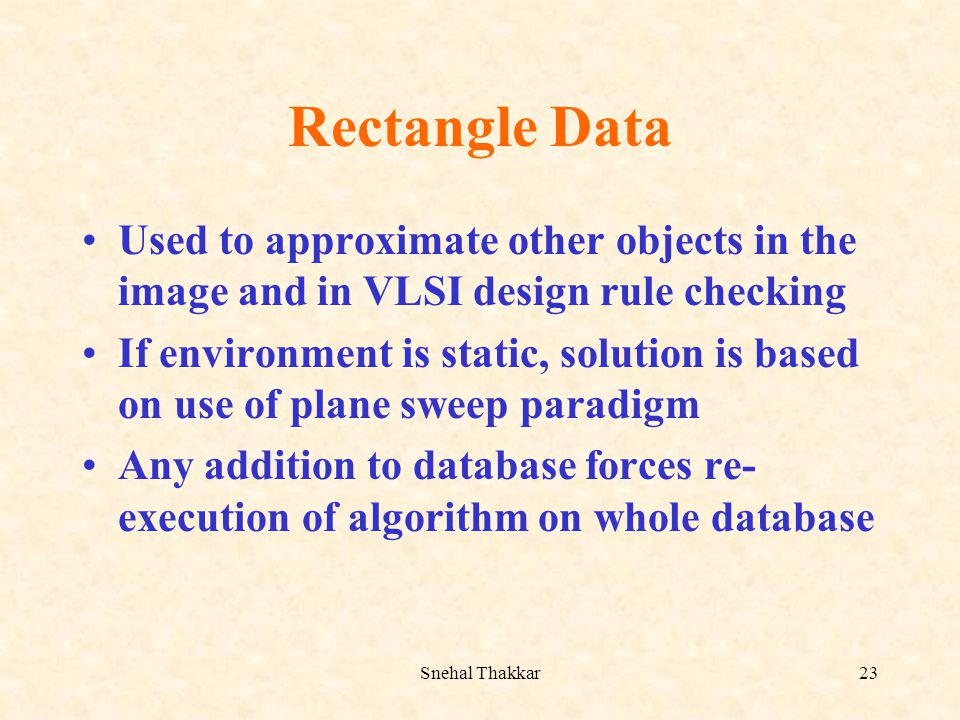 Rectangle Data Used to approximate other objects in the image and in VLSI design rule checking.