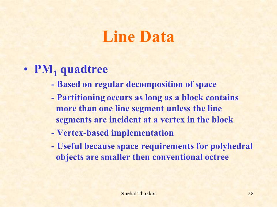 Line Data PM1 quadtree - Based on regular decomposition of space