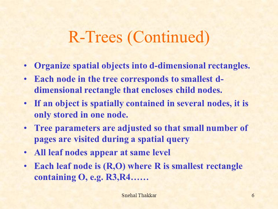 R-Trees (Continued) Organize spatial objects into d-dimensional rectangles.