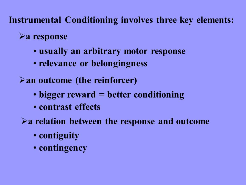 Instrumental Conditioning involves three key elements: