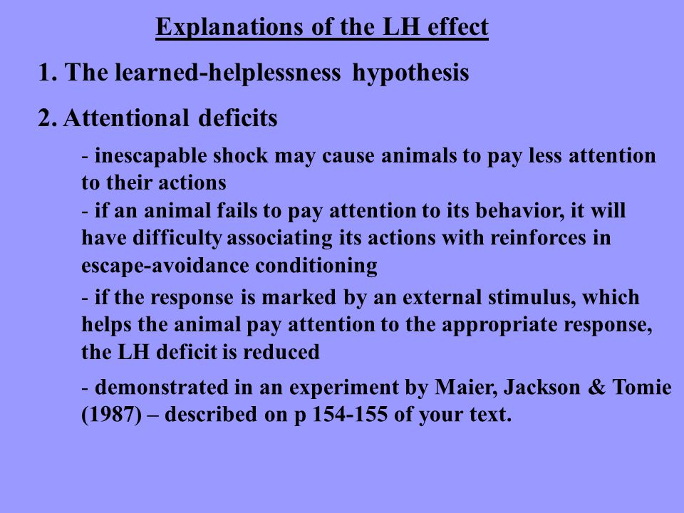 Explanations of the LH effect