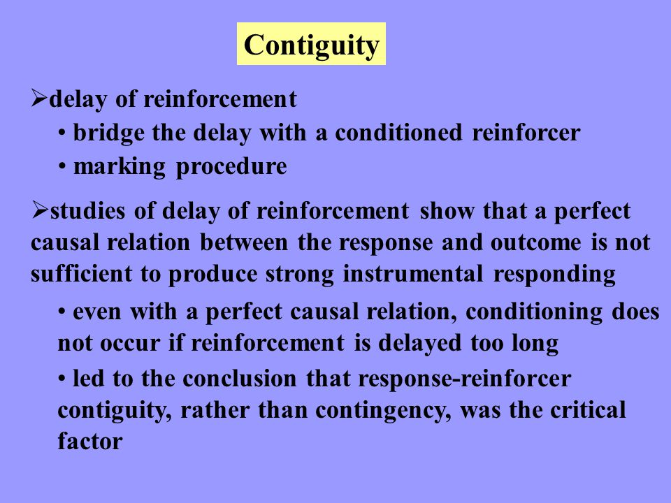 Contiguity delay of reinforcement