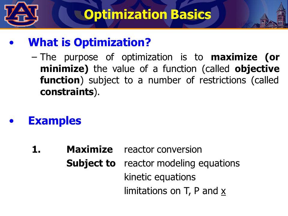 Optimization Basics What is Optimization Examples