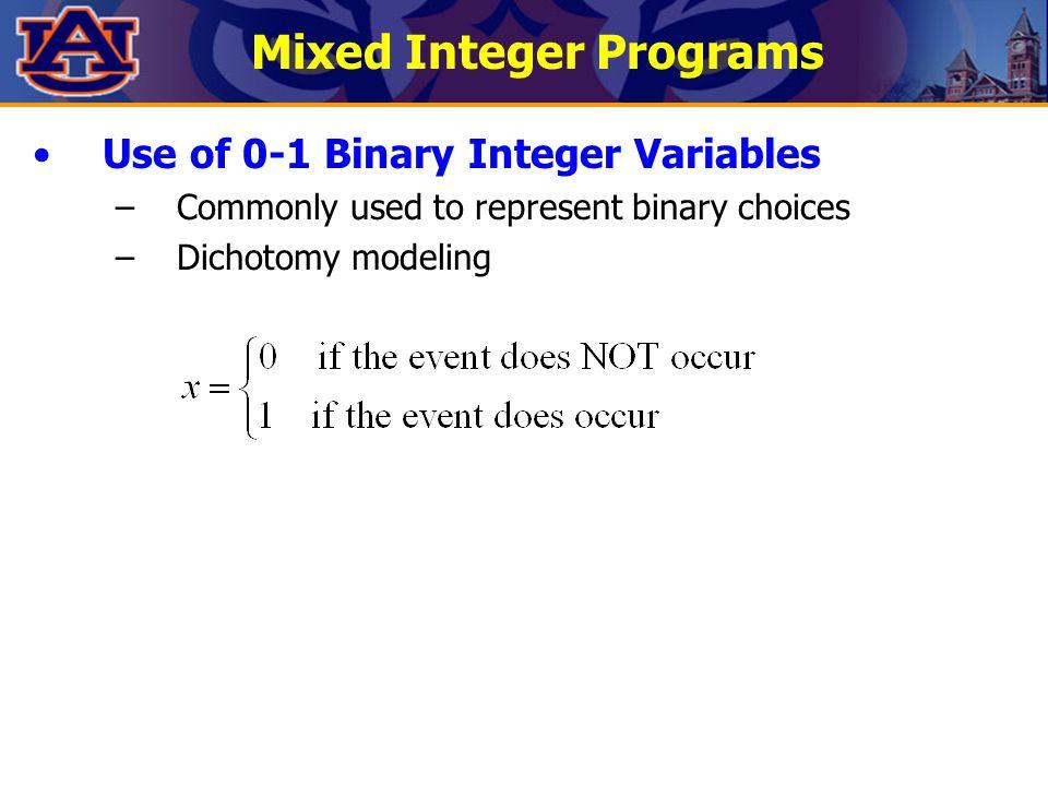 Mixed Integer Programs