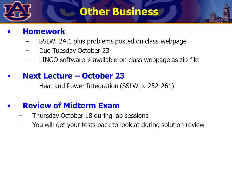Other Business Homework Next Lecture – October 23