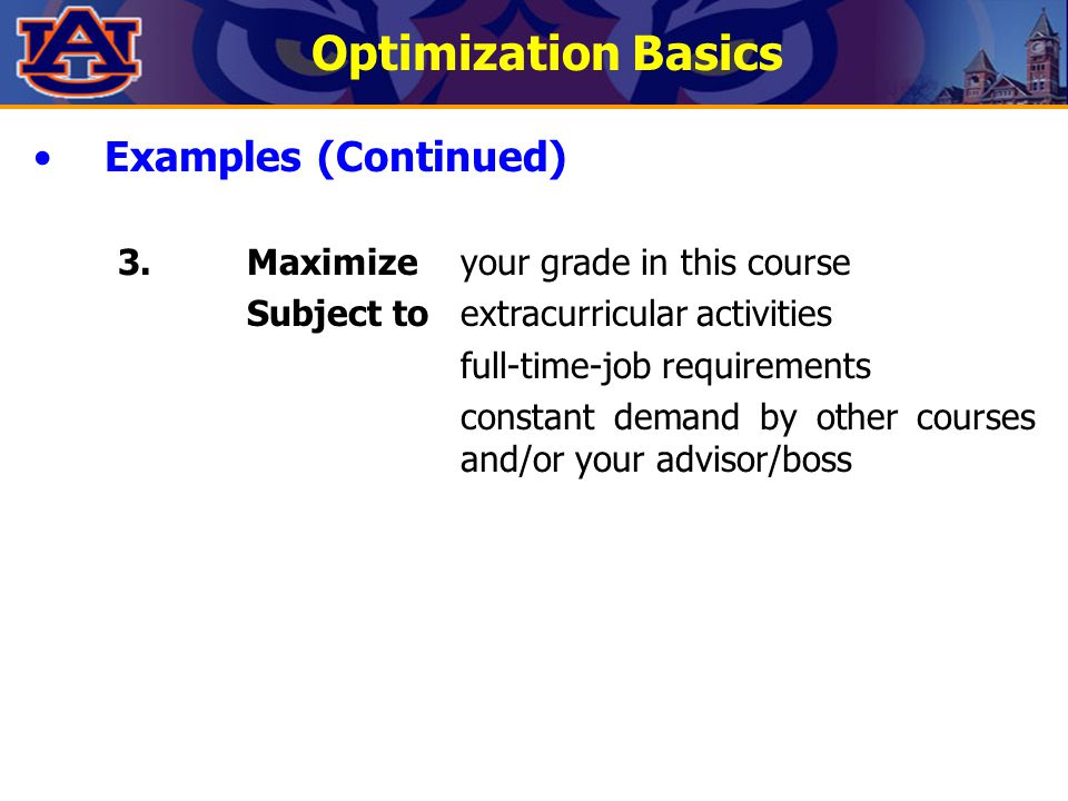 Optimization Basics Examples (Continued)