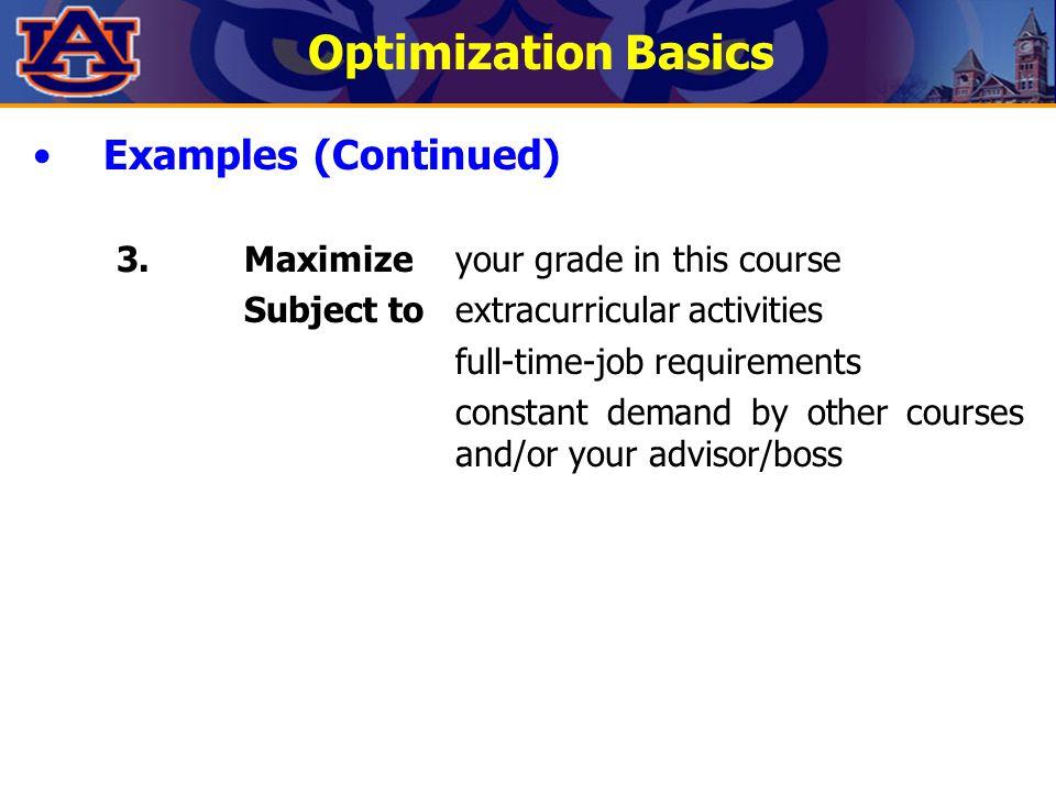 Optimization Basics Examples (Continued)