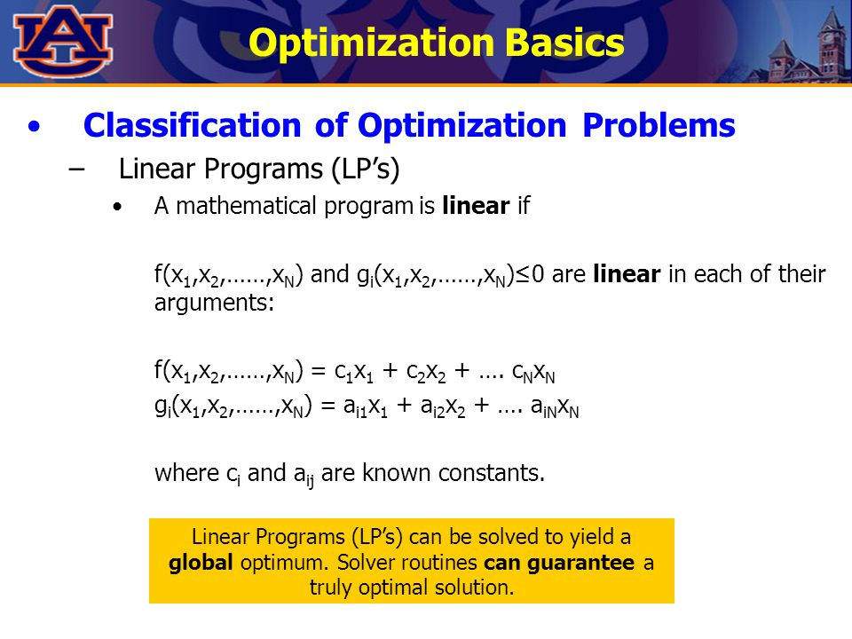 Optimization Basics Classification of Optimization Problems