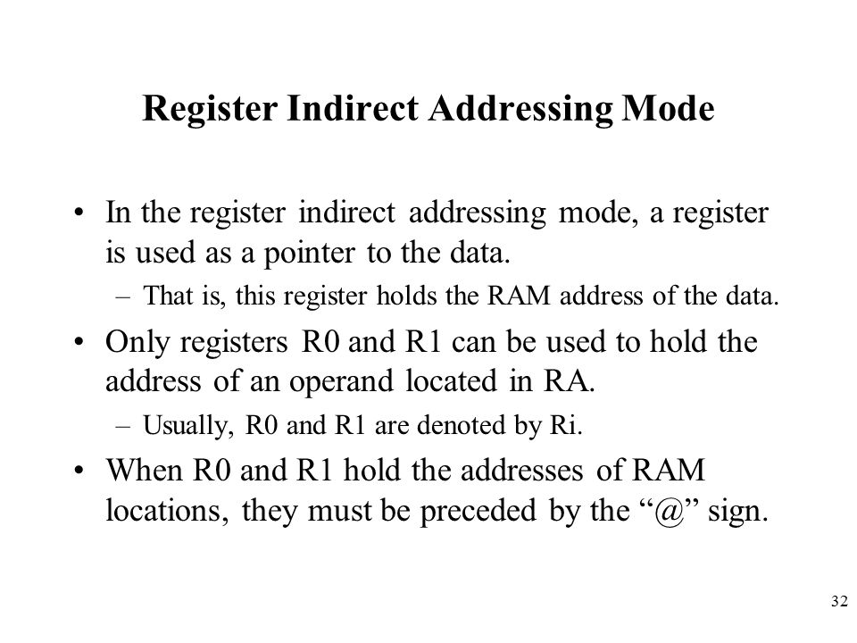 Register Indirect Addressing Mode