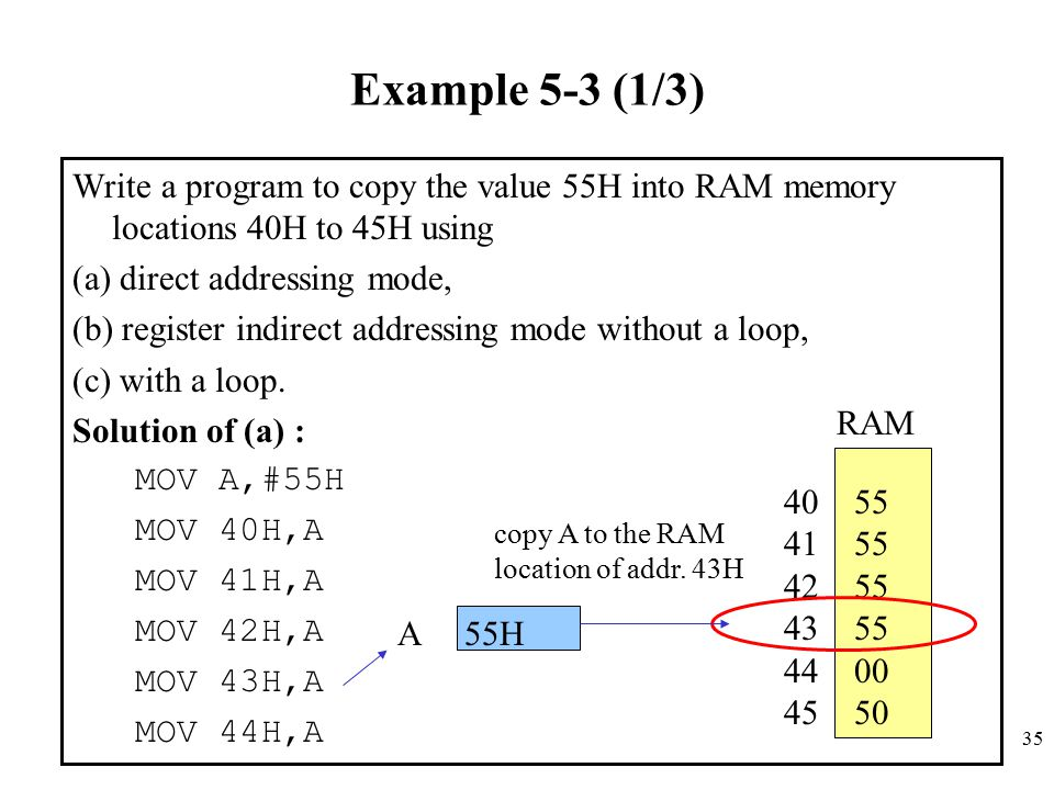 Example 5-3 (1/3) Write a program to copy the value 55H into RAM memory locations 40H to 45H using.