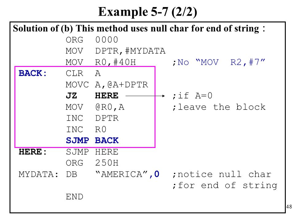 Example 5-7 (2/2) Solution of (b) This method uses null char for end of string: ORG 0000. MOV DPTR,#MYDATA.