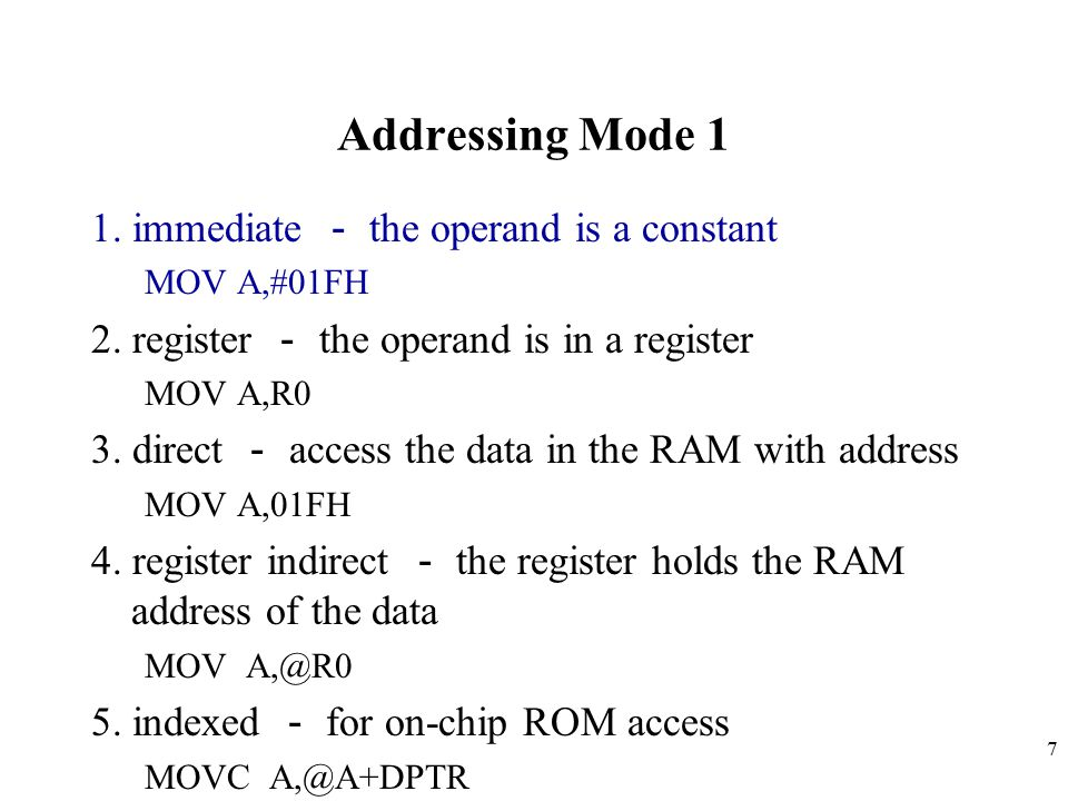 Addressing Mode 1 1. immediate - the operand is a constant